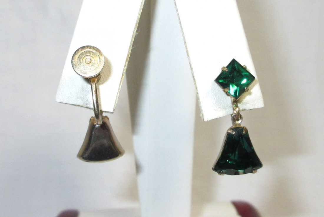 5 Pr.'s of Lovely Emerald, Red Glass Earrings - 2