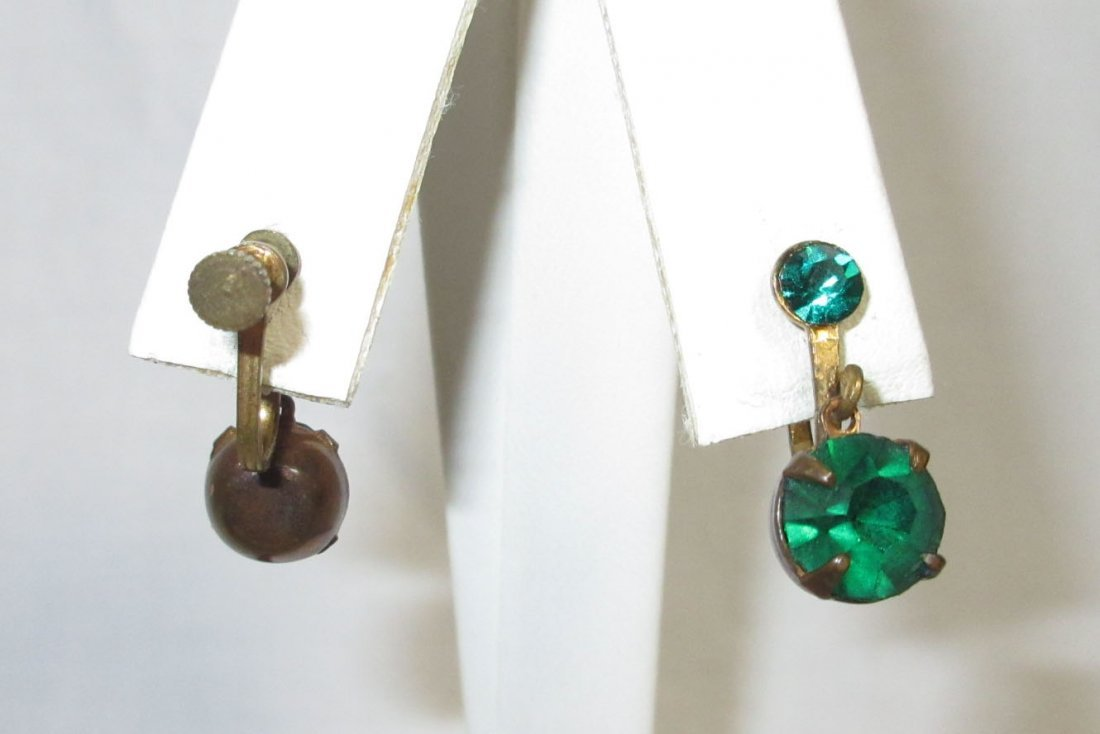 5 Pr.'s of Lovely Emerald, Red Glass Earrings - 3