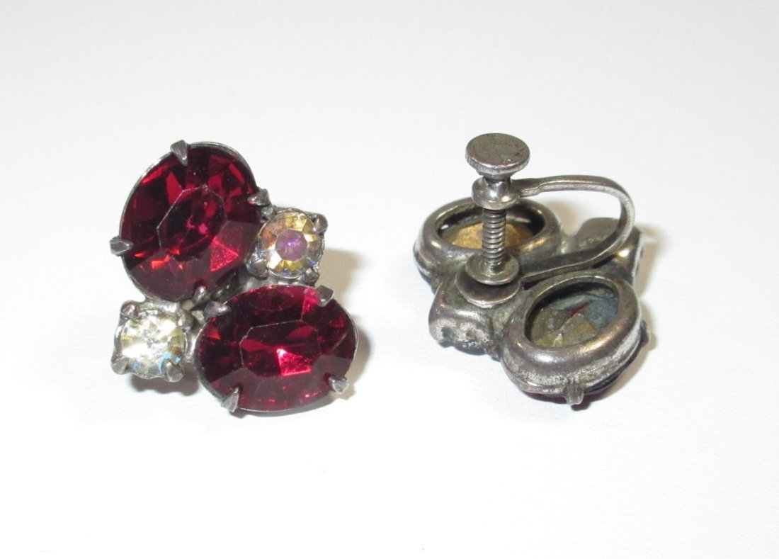 5 Pr.'s of Lovely Emerald, Red Glass Earrings - 5