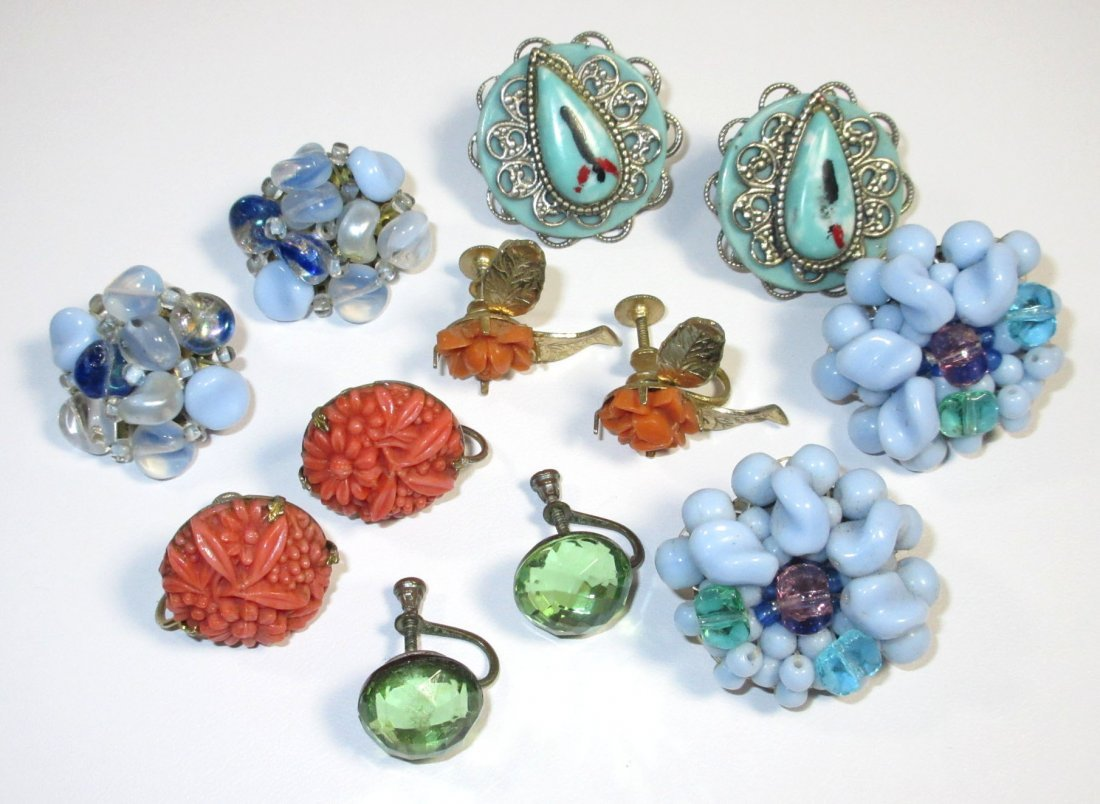 6 Pr.s of Molded Blue, Faux Coral, Domed Earrings