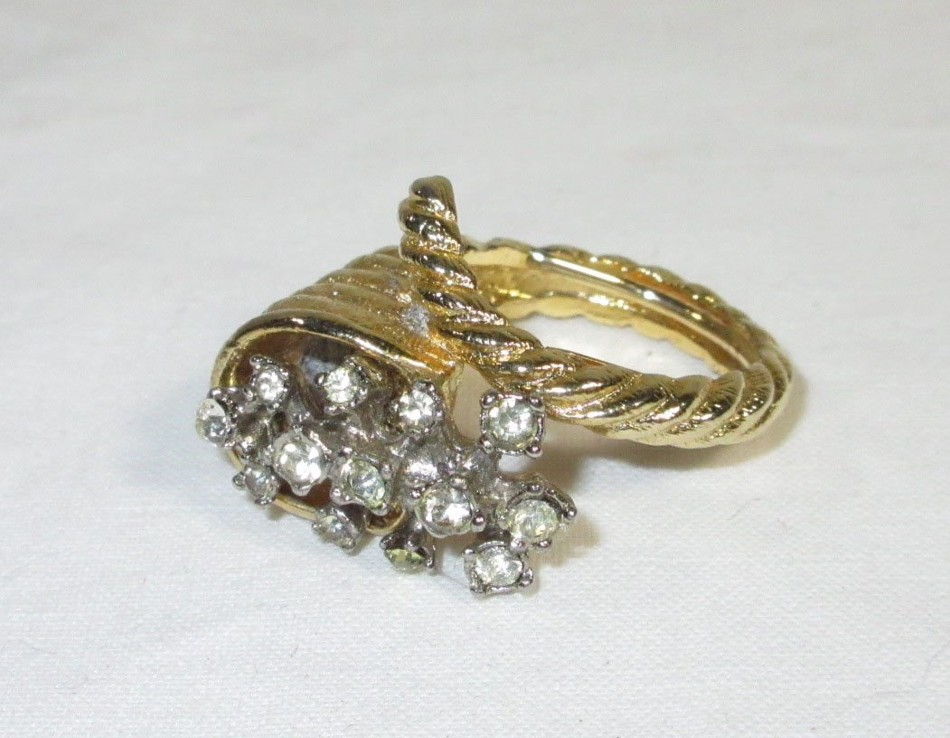 Evans Rhinestone Compact & Cocktail Ring - 2