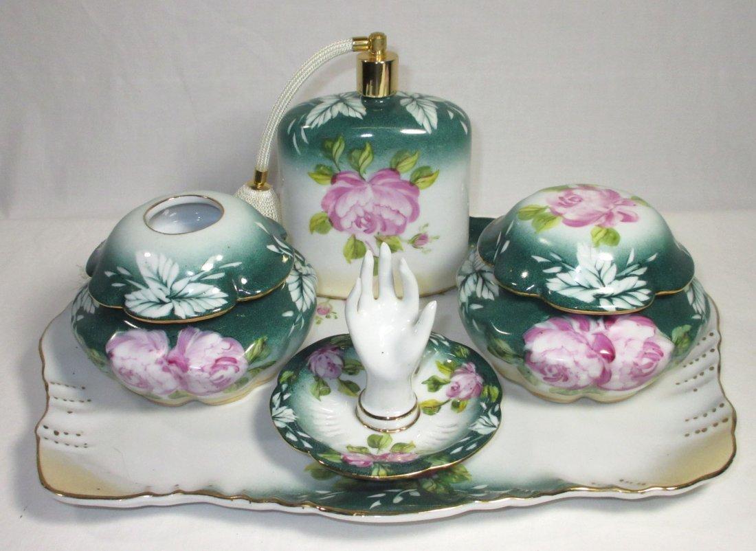 5 Pc. Limoges Floral Dresser Set