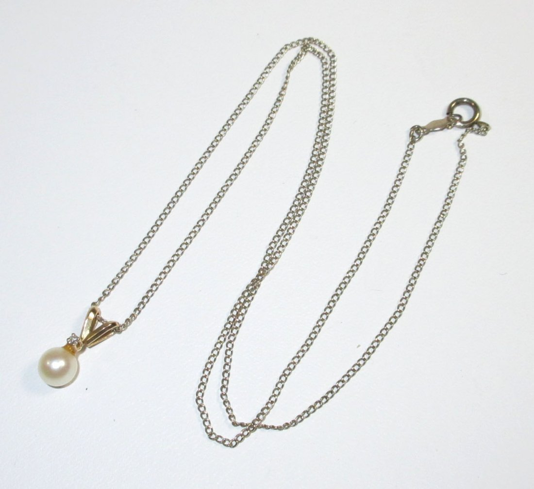 Fine 14Kt, Cultured Pearl & Diamond Necklace - 2