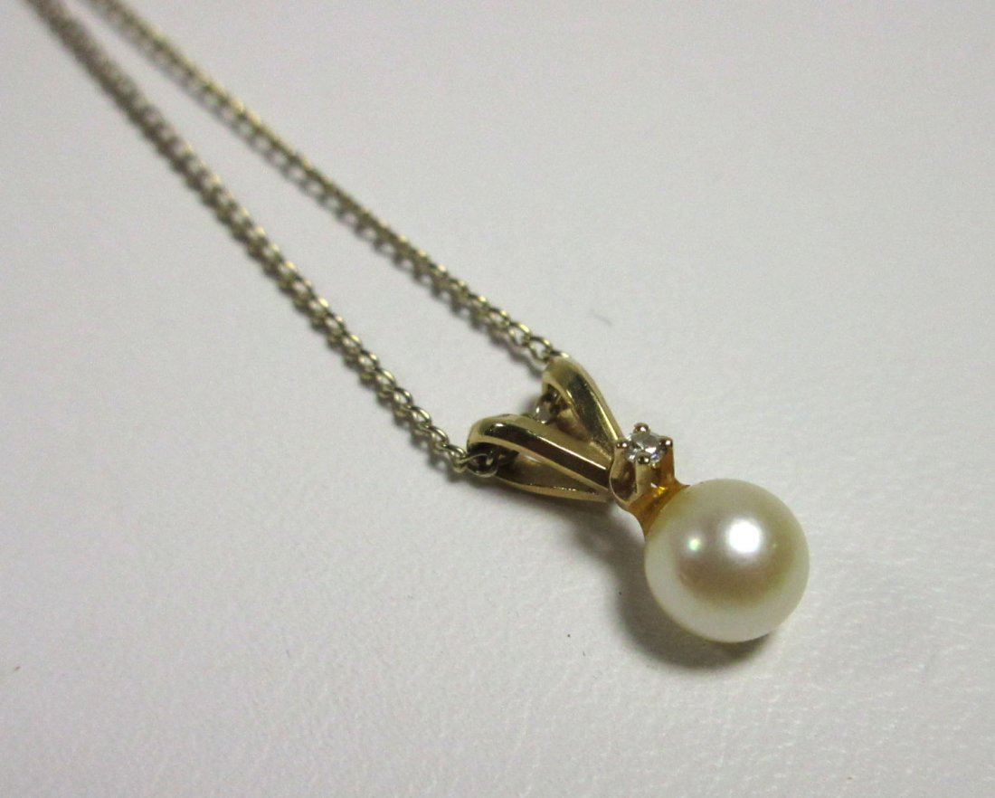 Fine 14Kt, Cultured Pearl & Diamond Necklace - 3