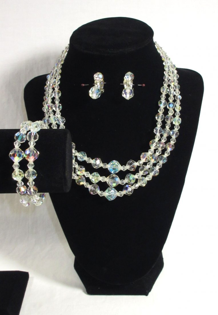 Wonderful Cut Crystal Bead Choker 3pc Set