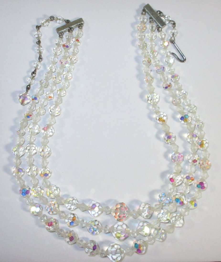 Wonderful Cut Crystal Bead Choker 3pc Set - 6