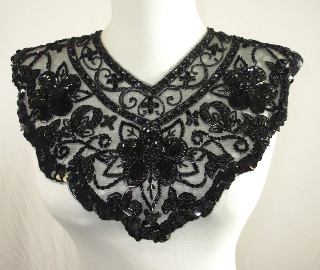 2 Tube Bead, Sequined Floral 50's Collars - 2
