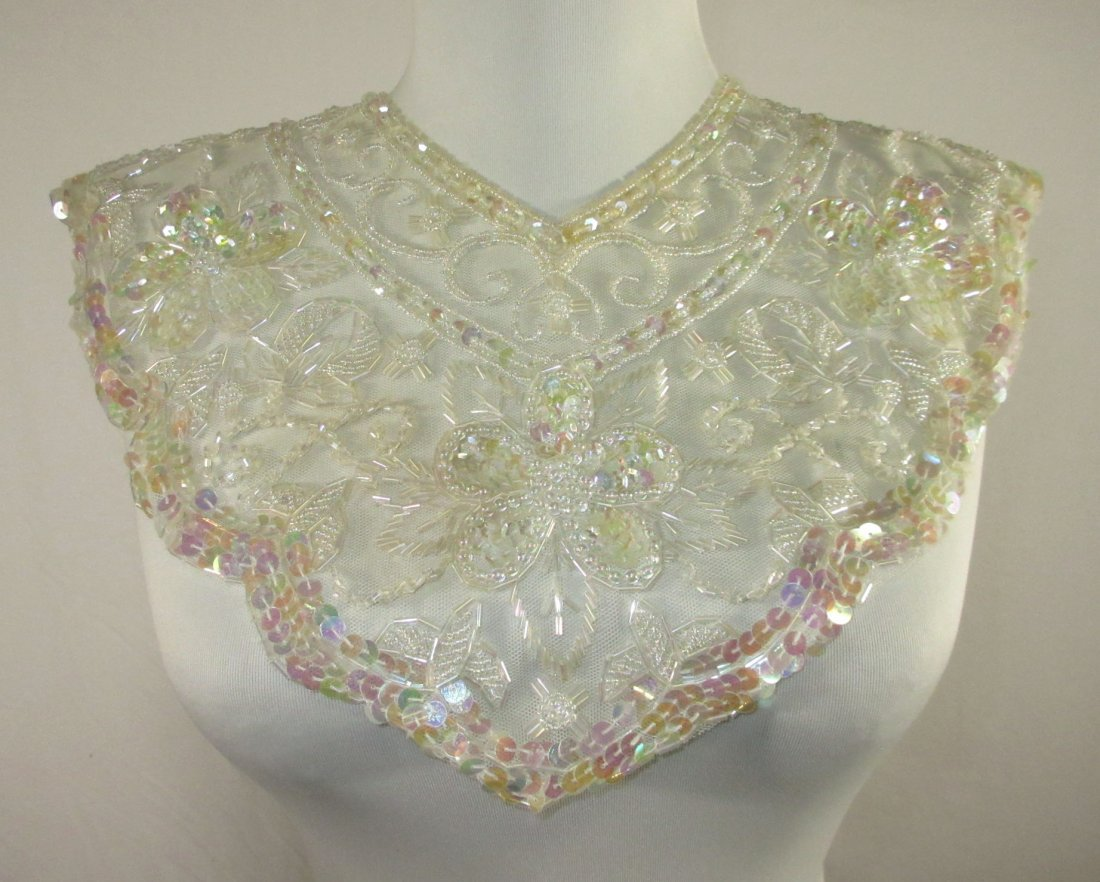 2 Tube Bead, Sequined Floral 50's Collars - 6