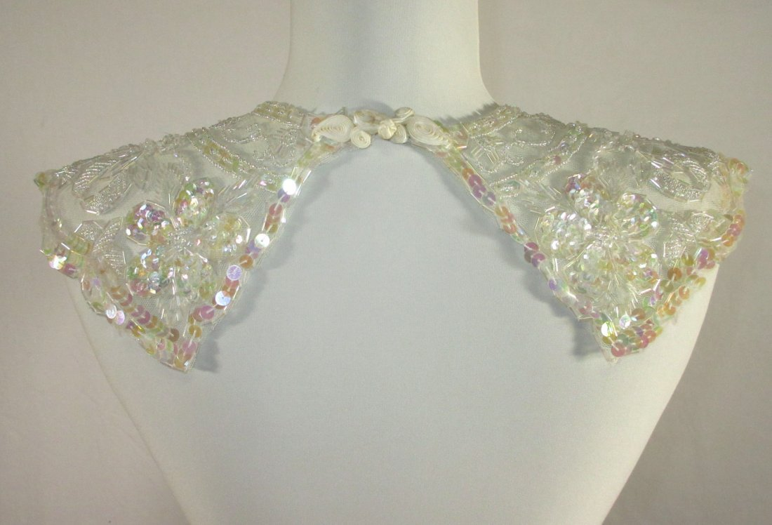 2 Tube Bead, Sequined Floral 50's Collars - 8