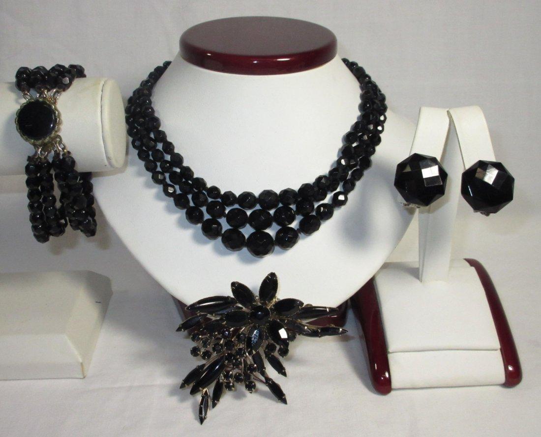 Black Glass Neck.-Brac.-Pin & Earrings Collection