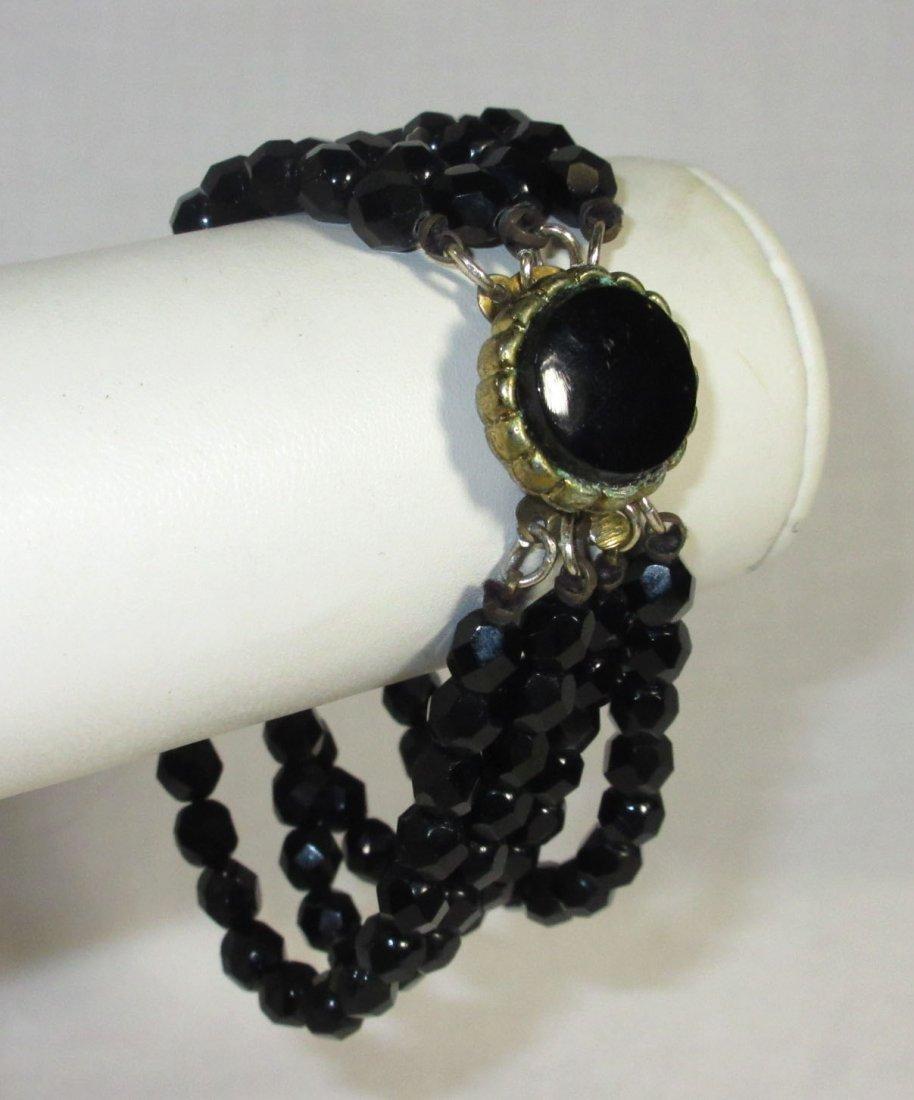 Black Glass Neck.-Brac.-Pin & Earrings Collection - 5