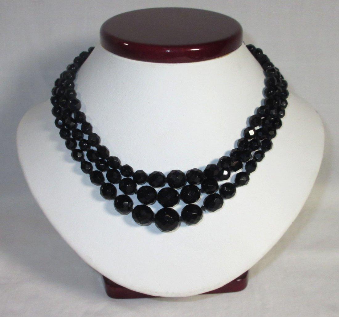 Black Glass Neck.-Brac.-Pin & Earrings Collection - 7