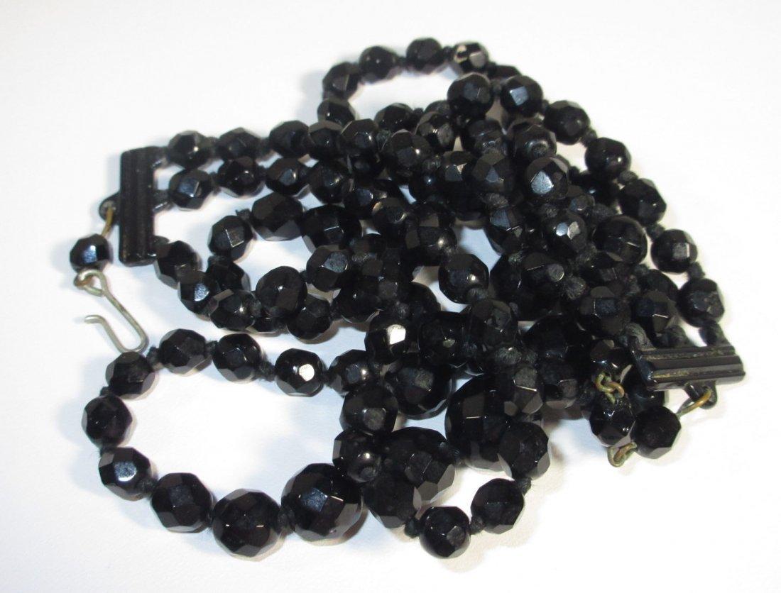 Black Glass Neck.-Brac.-Pin & Earrings Collection - 8