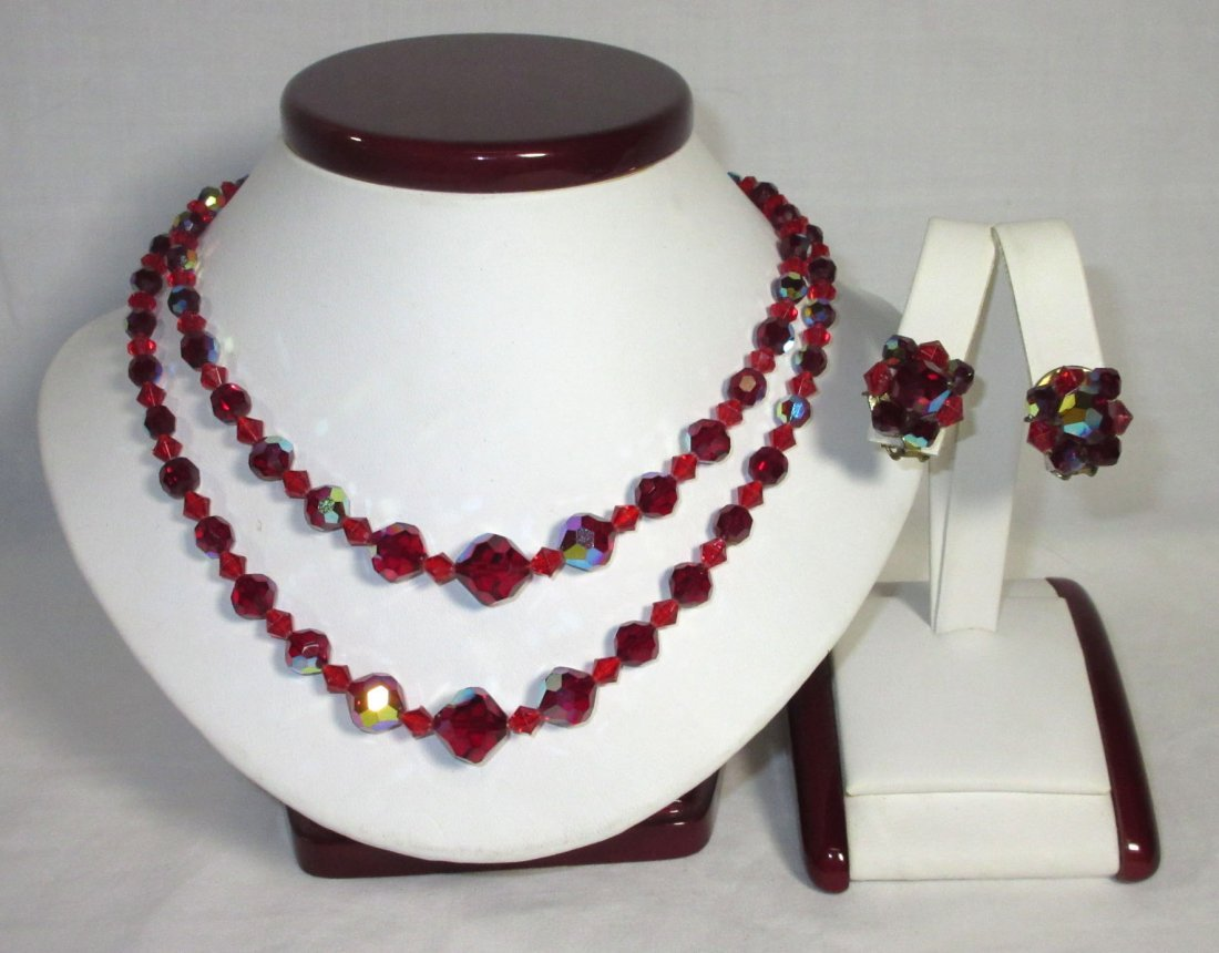 Shimmering Ruby AB Glass Bead Choker Set