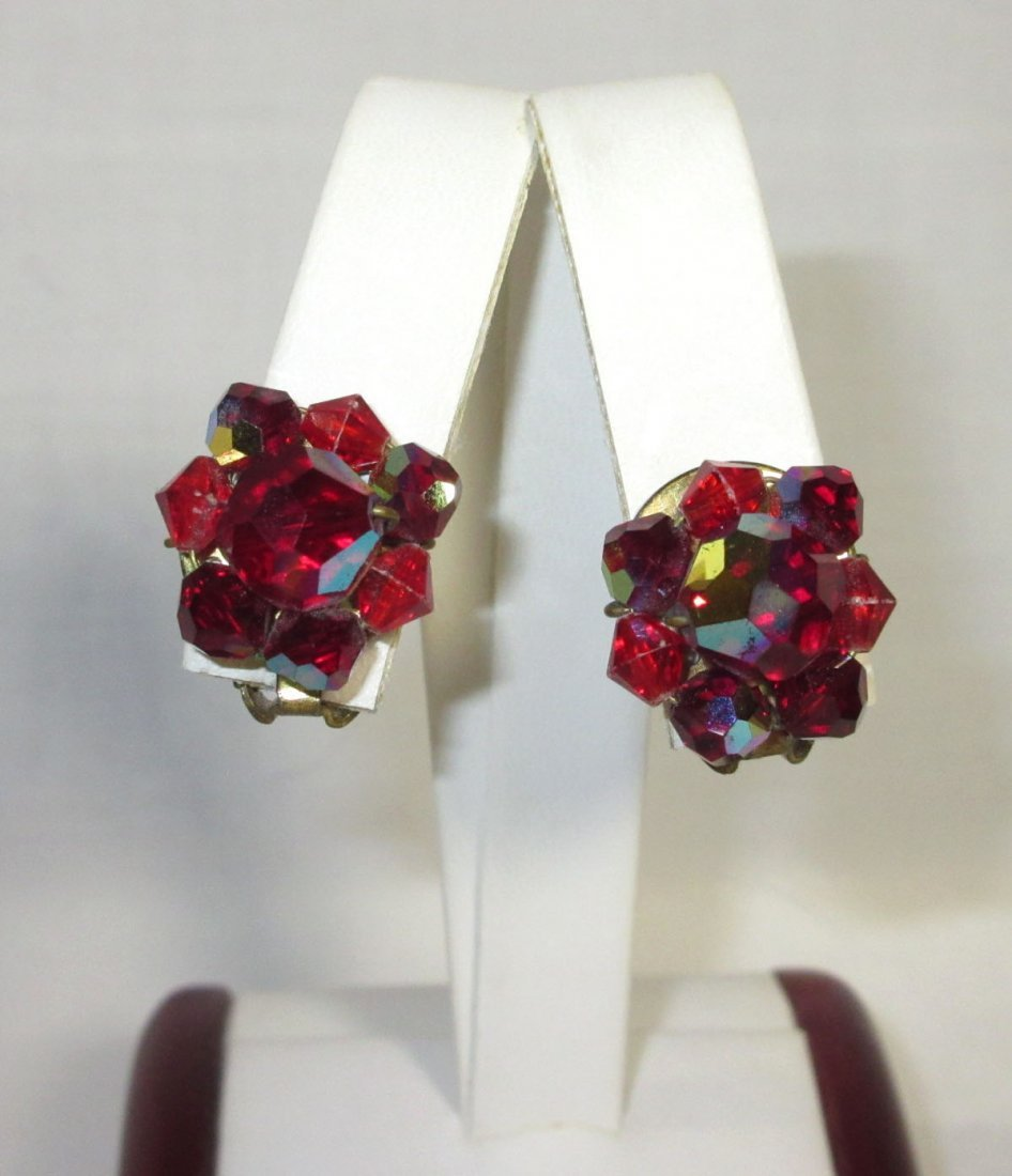 Shimmering Ruby AB Glass Bead Choker Set - 2