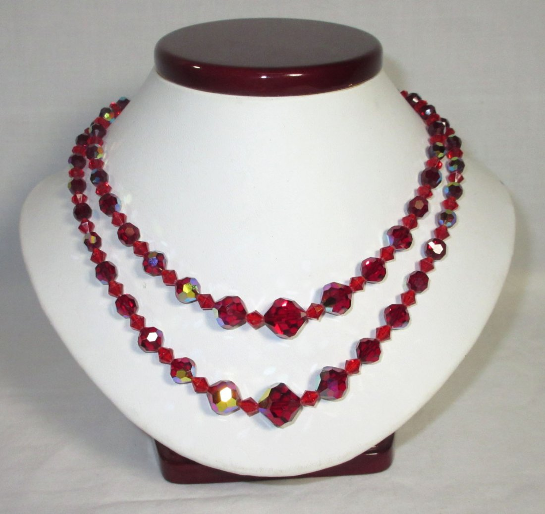 Shimmering Ruby AB Glass Bead Choker Set - 4