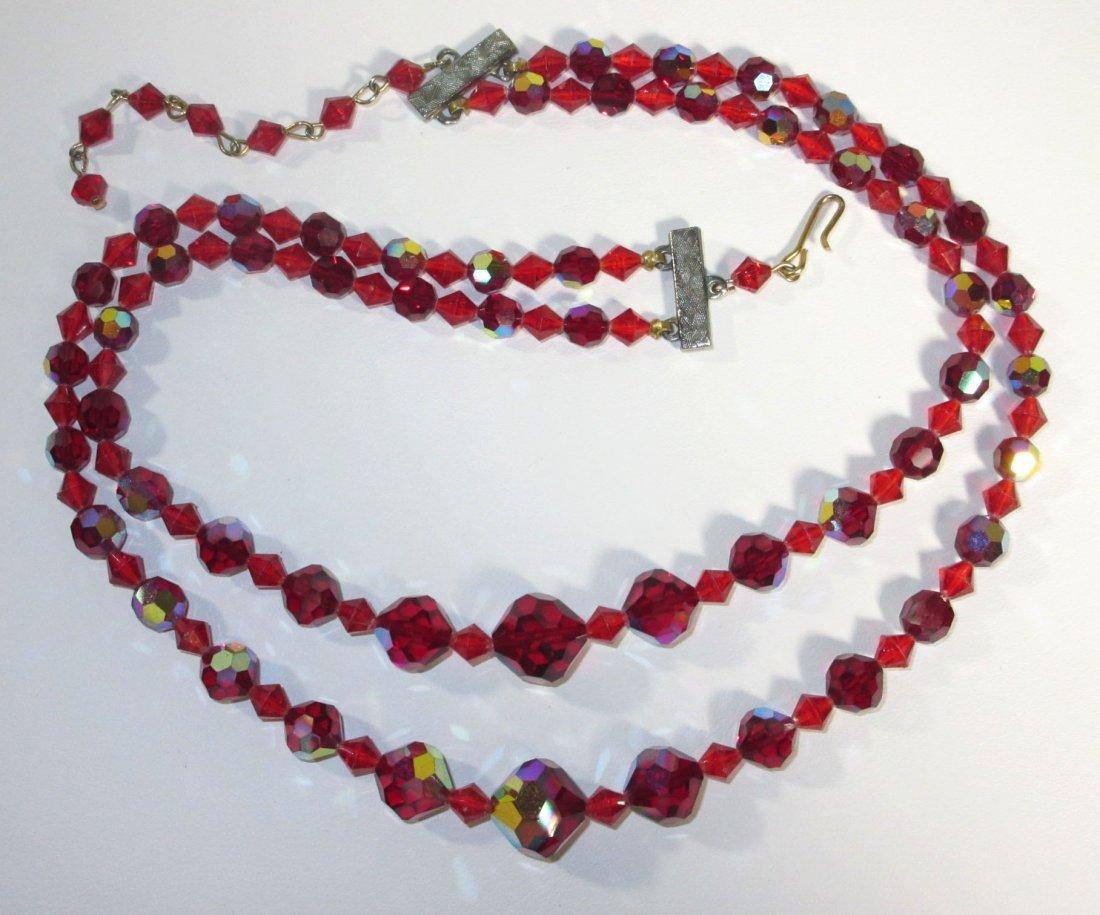 Shimmering Ruby AB Glass Bead Choker Set - 5