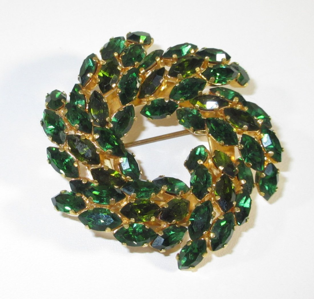 Stunning Austrian Emerald Glass Brooch