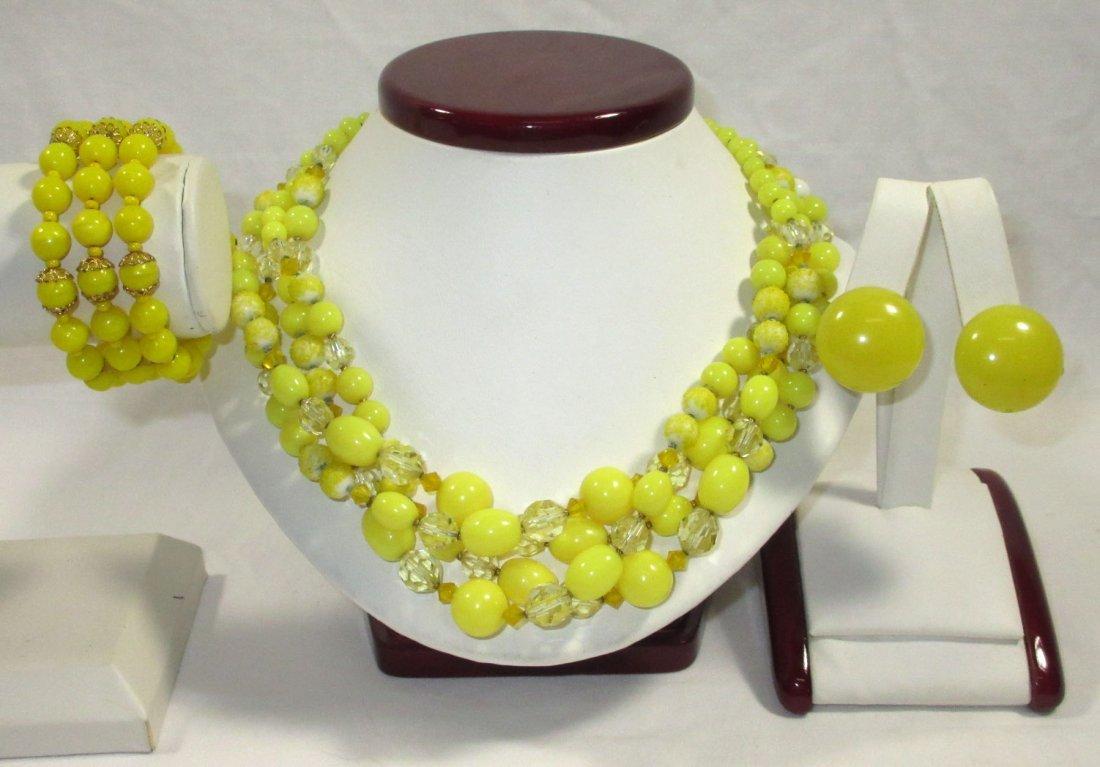 Quality Sunny Yellow Glass Bead Neck/Brac/Earr
