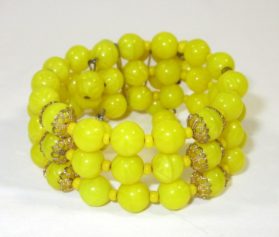 Quality Sunny Yellow Glass Bead Neck/Brac/Earr - 3