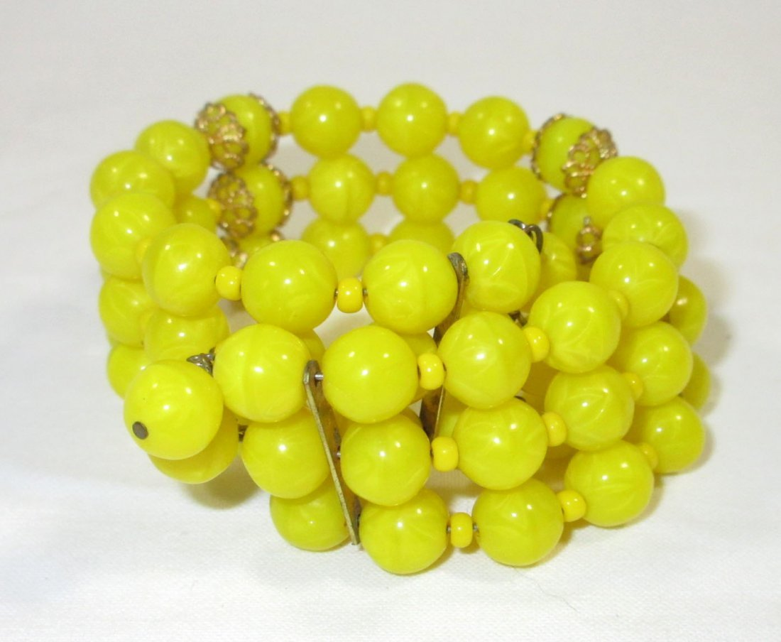 Quality Sunny Yellow Glass Bead Neck/Brac/Earr - 4