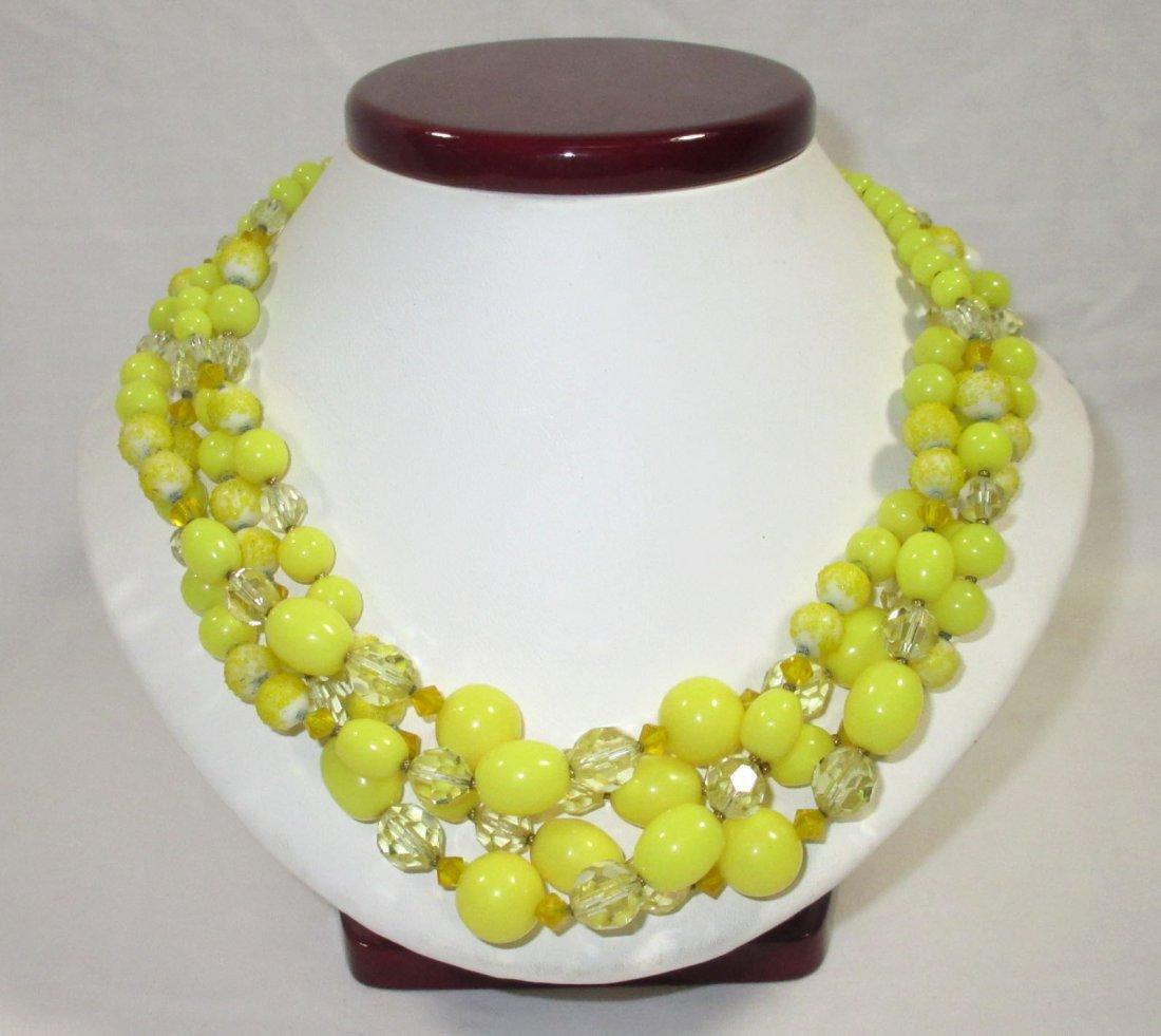 Quality Sunny Yellow Glass Bead Neck/Brac/Earr - 5