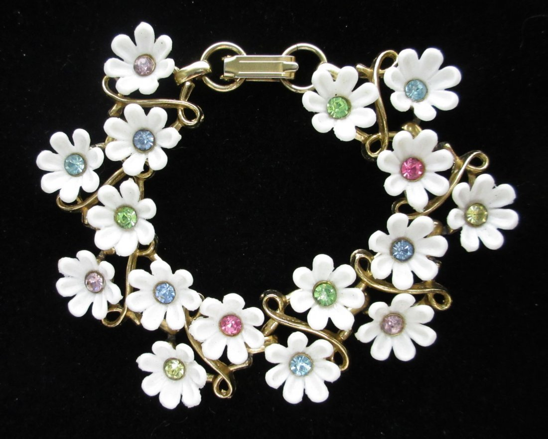4pc. Enameled Metal, Lucite Spring Flower Jew. - 2