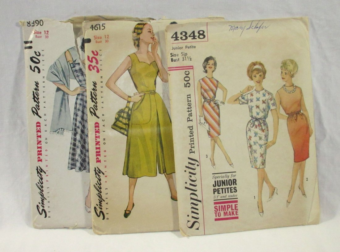 (3) Classic 50's Dress/Culotte Patterns, Bust 30/31