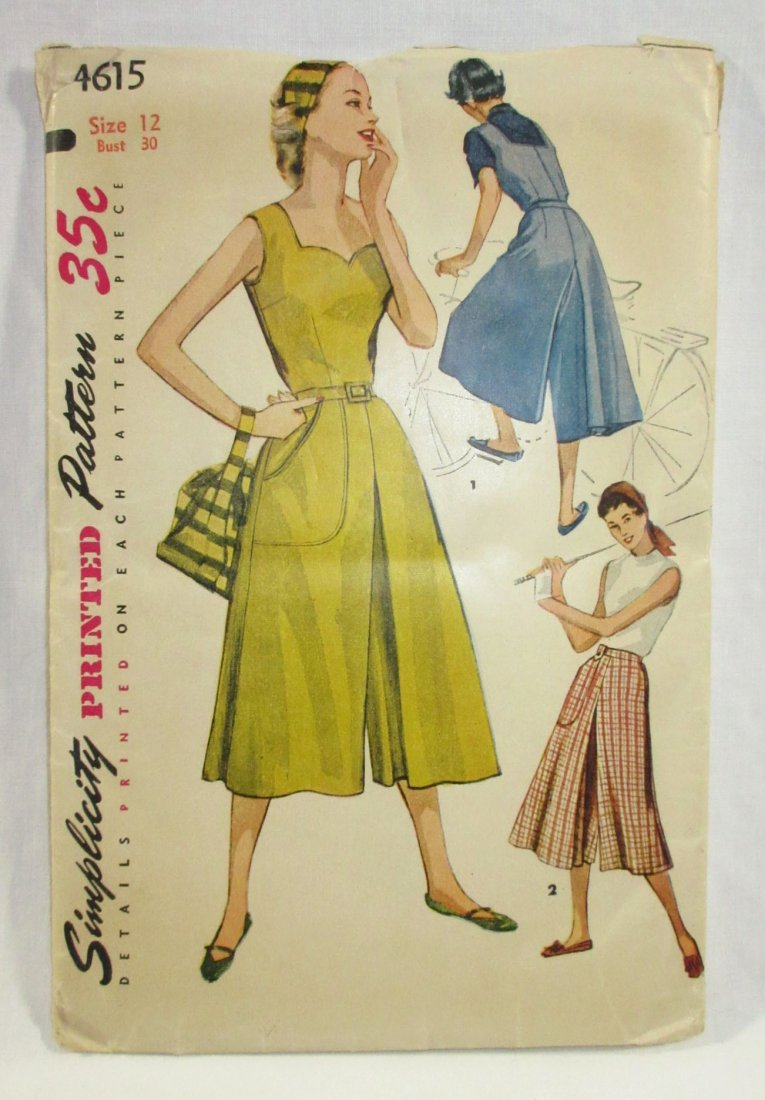 (3) Classic 50's Dress/Culotte Patterns, Bust 30/31 - 3