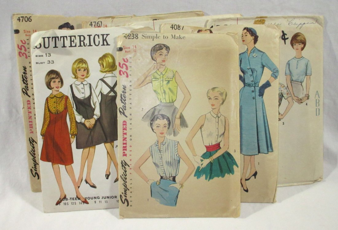 (7) 50's Dress & Blouse Patterns, Bust 32