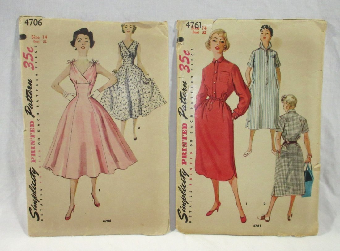 (7) 50's Dress & Blouse Patterns, Bust 32 - 2