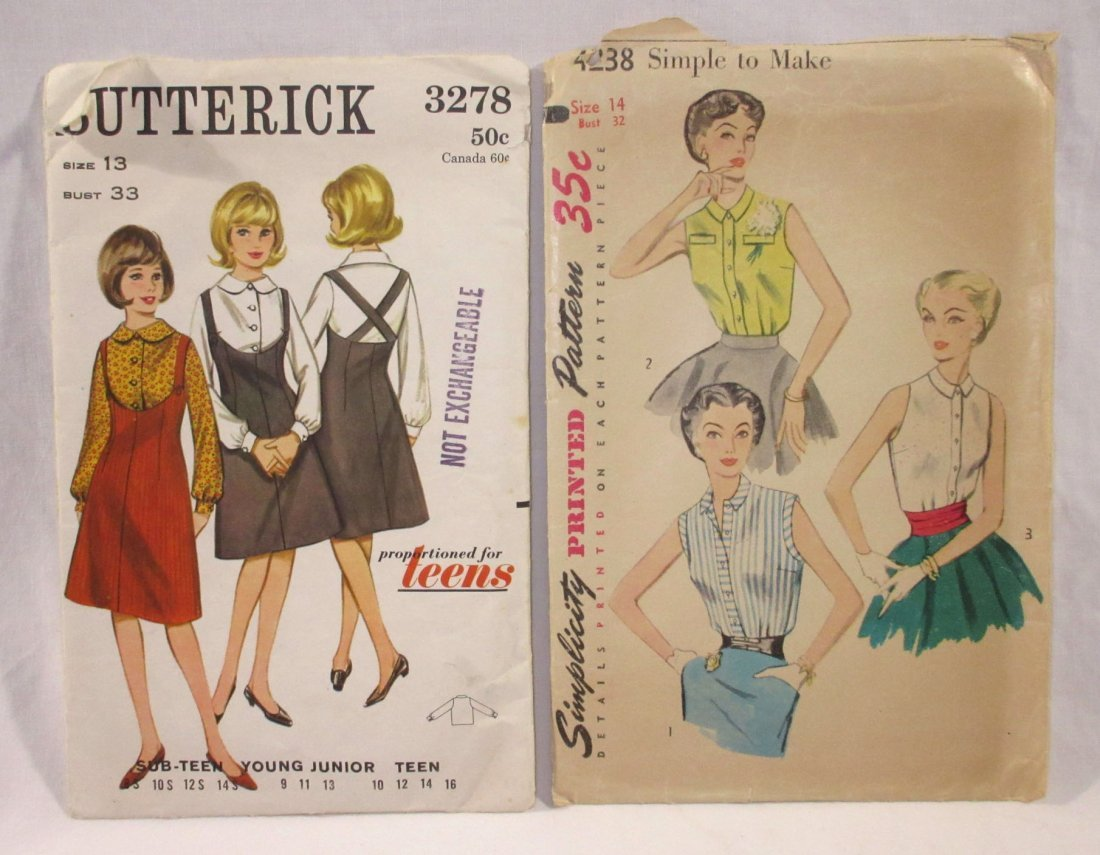 (7) 50's Dress & Blouse Patterns, Bust 32 - 3