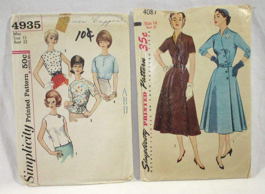 (7) 50's Dress & Blouse Patterns, Bust 32 - 4