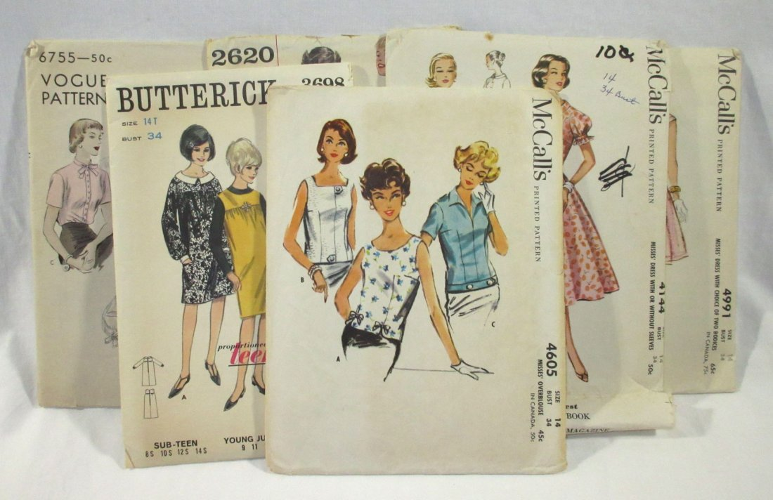 (6) Beautiful 50's Dress/Blouse Patterns,Bust 34