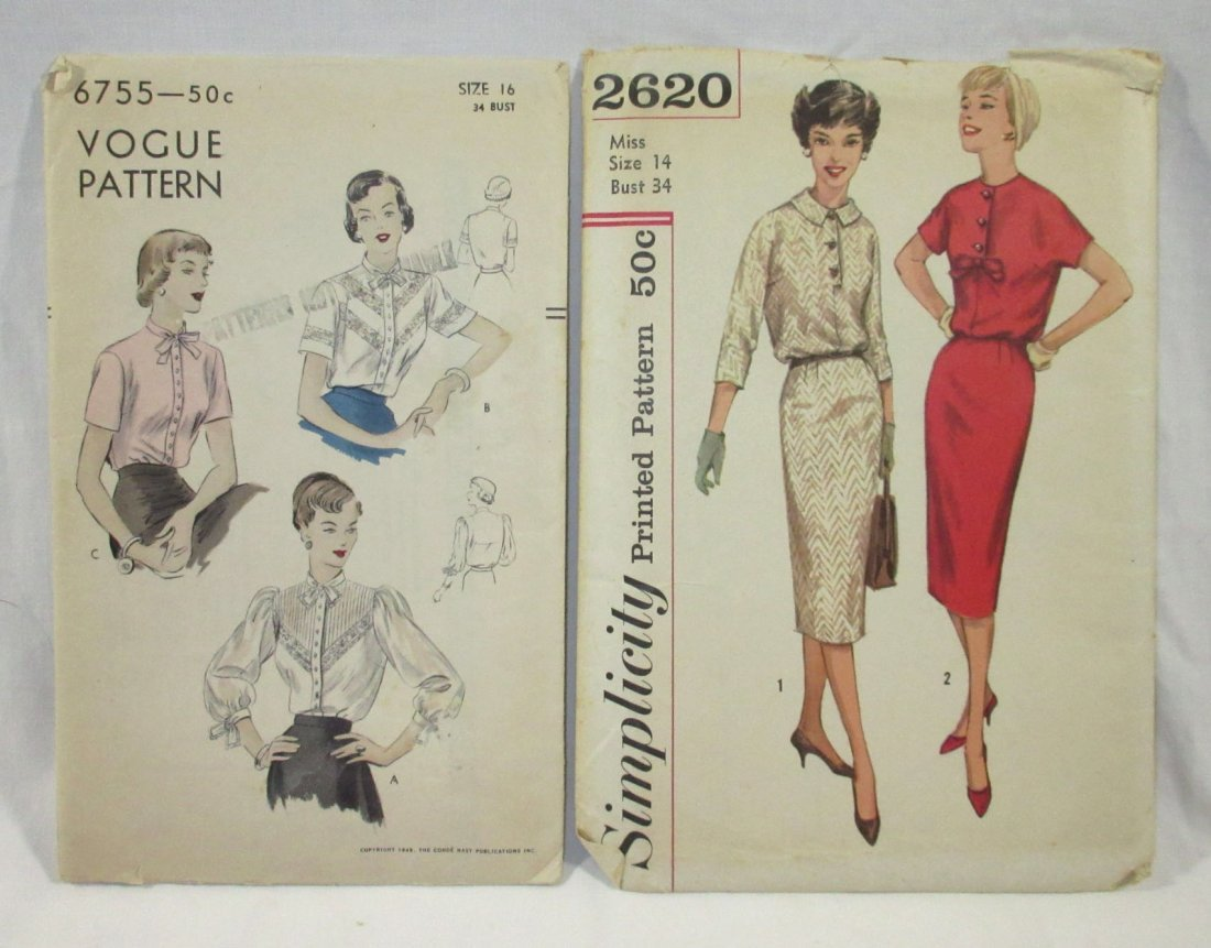 (6) Beautiful 50's Dress/Blouse Patterns,Bust 34 - 2