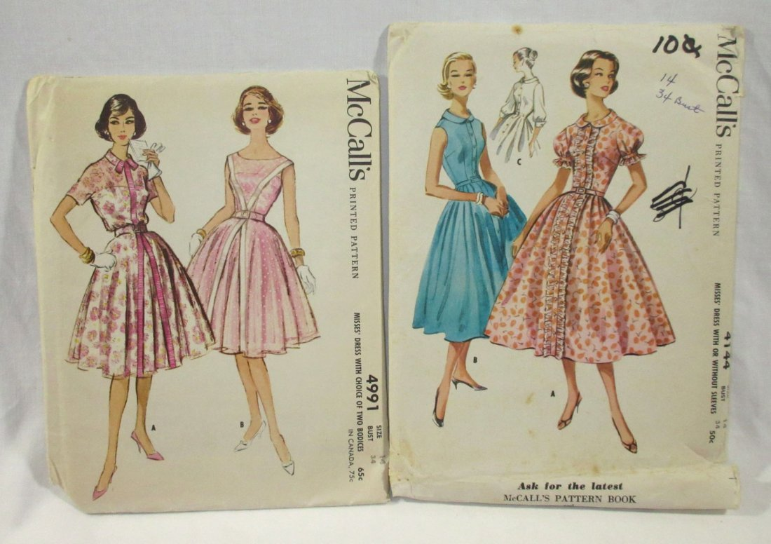 (6) Beautiful 50's Dress/Blouse Patterns,Bust 34 - 3