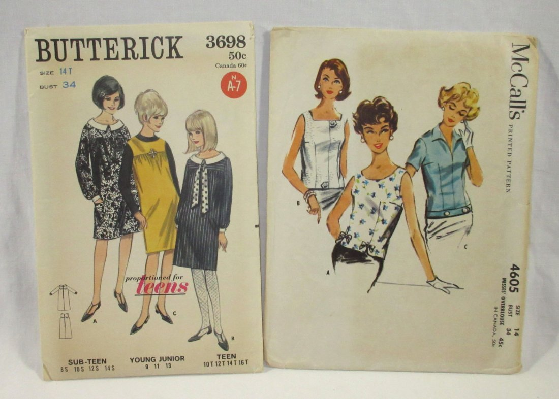 (6) Beautiful 50's Dress/Blouse Patterns,Bust 34 - 4