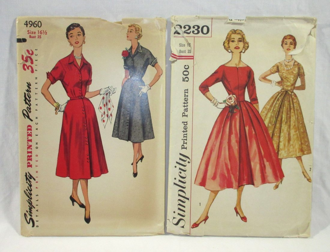 After 5 Classic 50's Dress Patterns, Bust 35