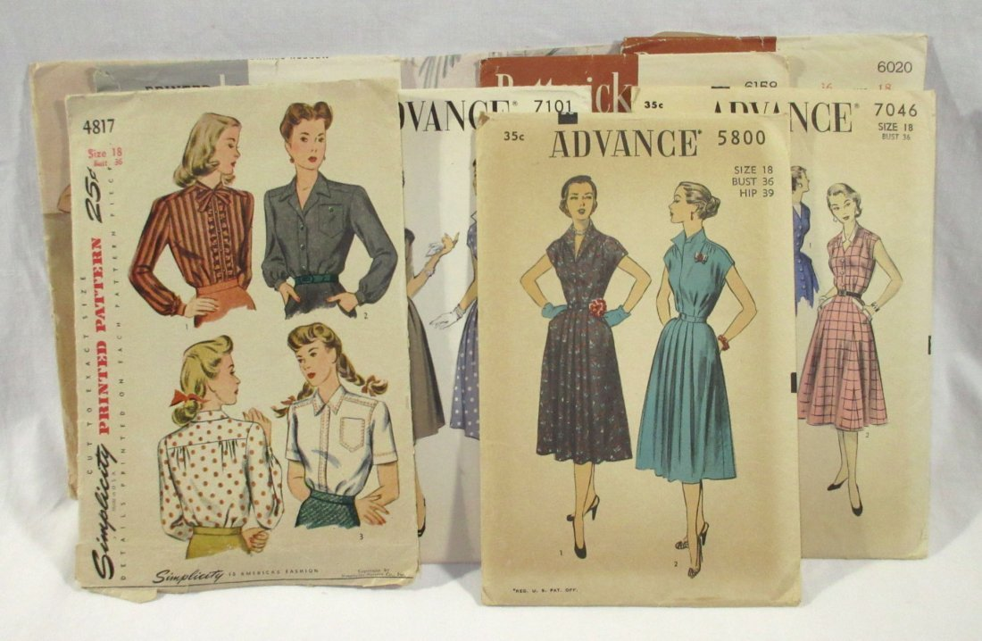 9 Great 50's Bust 36 Dress Patterns
