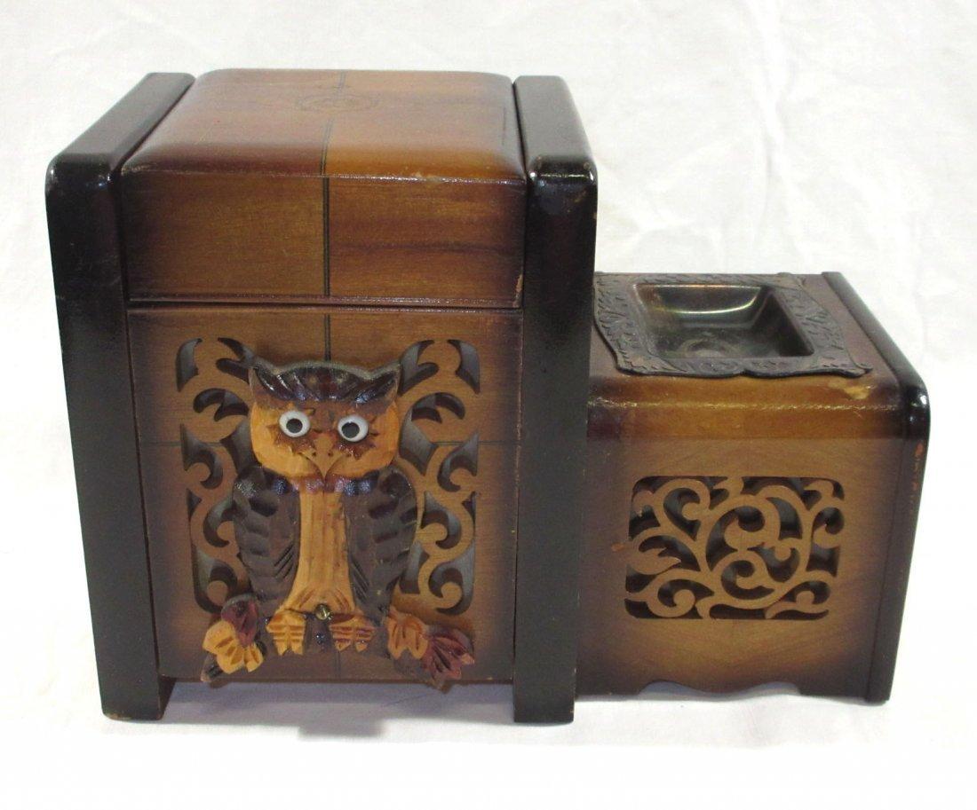 Unique Ornate Cigarette Music Wooden Owl Box