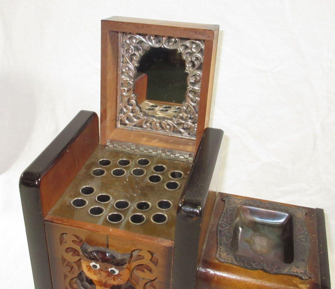 Unique Ornate Cigarette Music Wooden Owl Box - 2