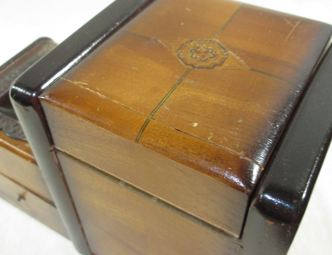 Unique Ornate Cigarette Music Wooden Owl Box - 8