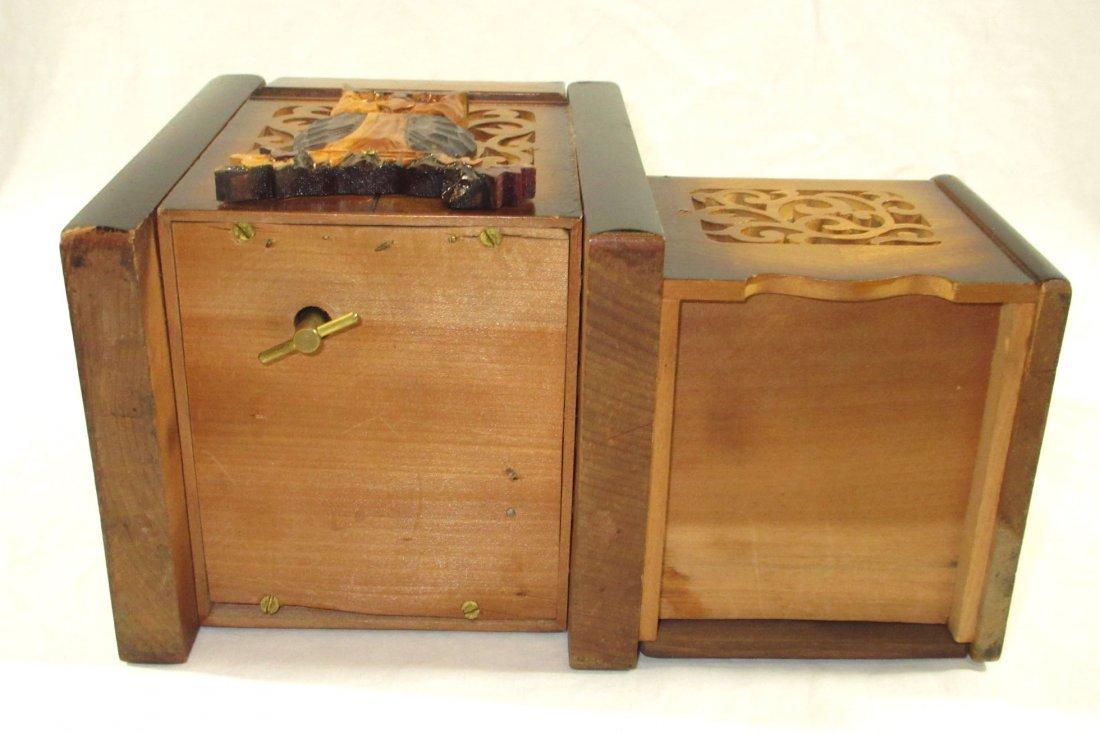 Unique Ornate Cigarette Music Wooden Owl Box - 9