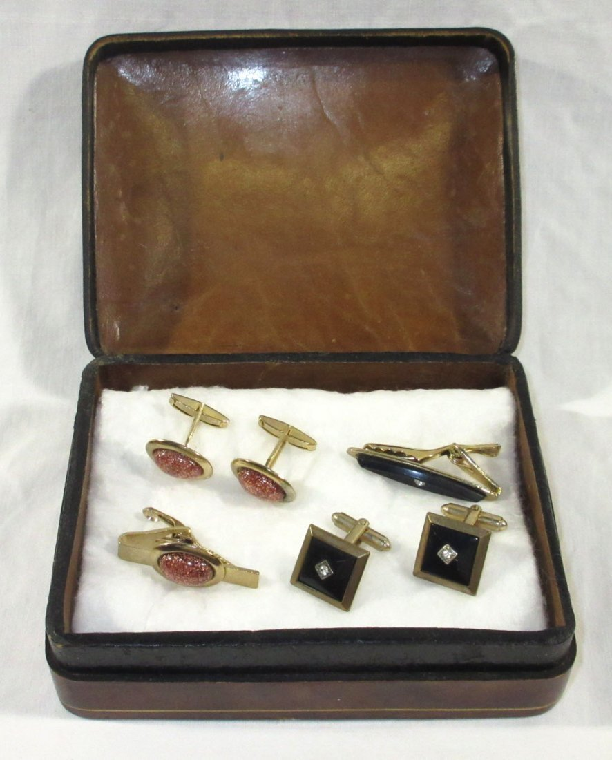 Great Leather Men's Box w/ 2 Cuff Link Sets