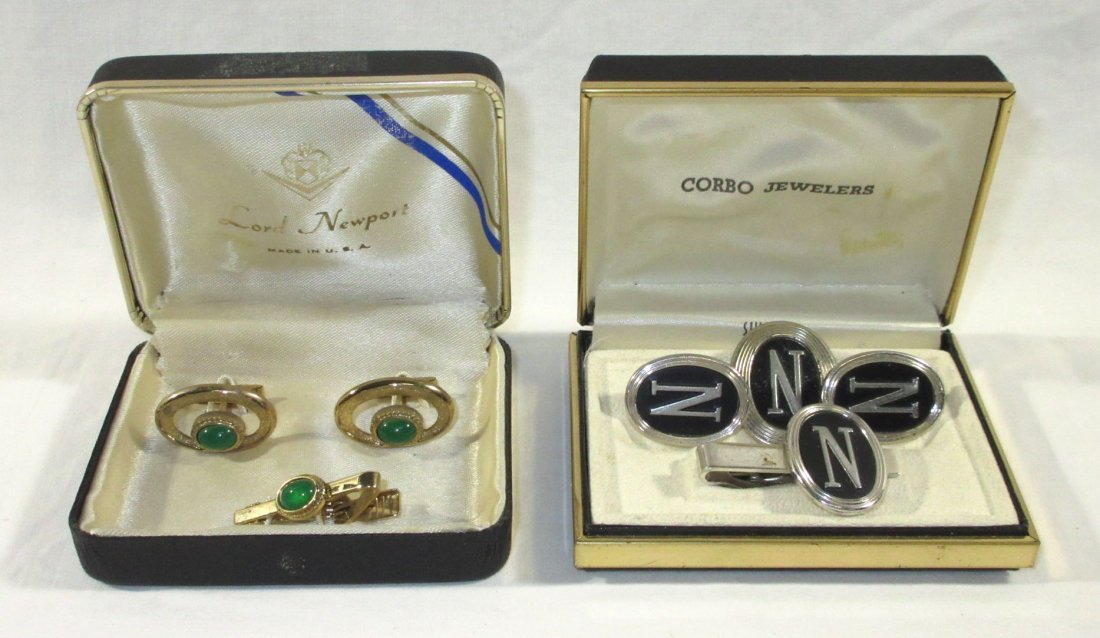 2 Boxed Pr.'s Men's Cuff Links & Tie Clips