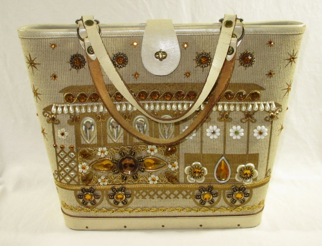 1960's Enid Collins Cable Car Jeweled Canvas Bag
