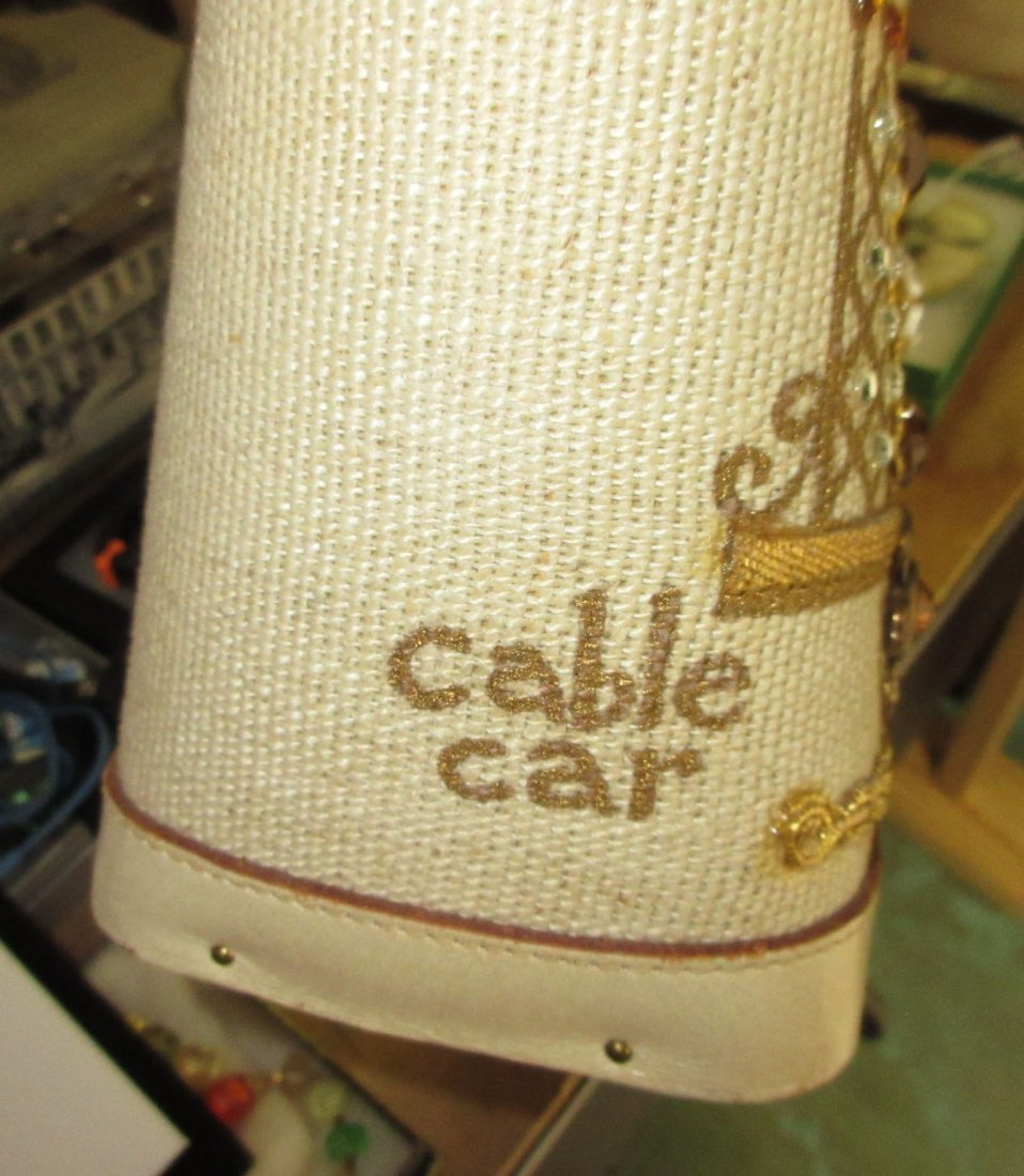 1960's Enid Collins Cable Car Jeweled Canvas Bag - 8