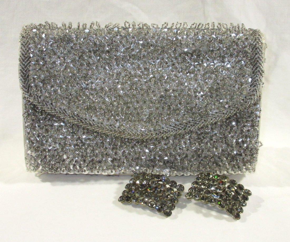 Handmade Silver Bead Evening Bag & Shoe Clips