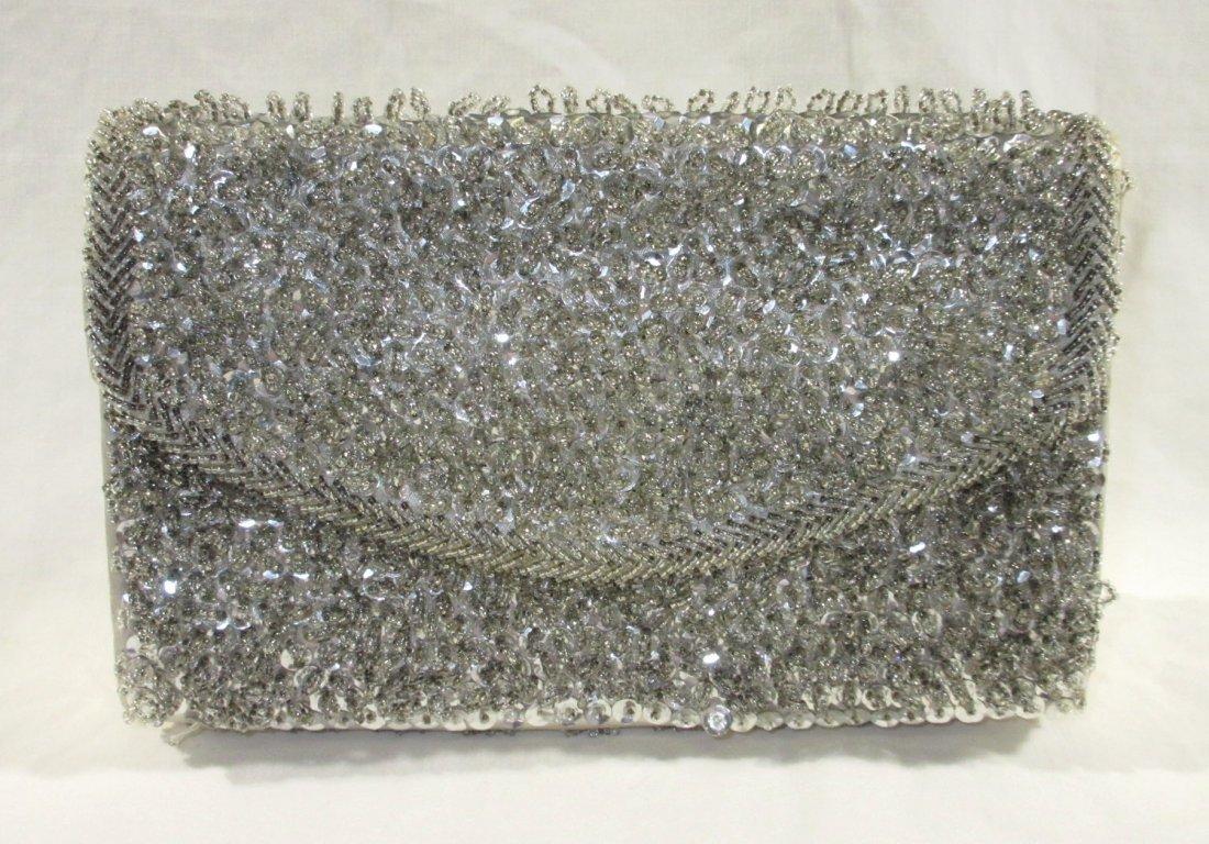 Handmade Silver Bead Evening Bag & Shoe Clips - 2