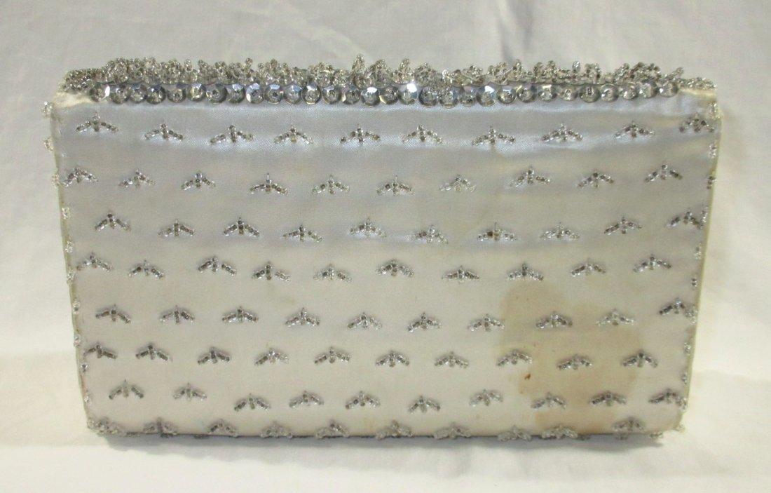 Handmade Silver Bead Evening Bag & Shoe Clips - 4